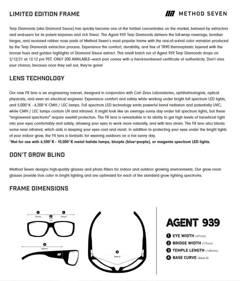Agent 939 Method Seven Sunglasses for Growing Cannabis Description