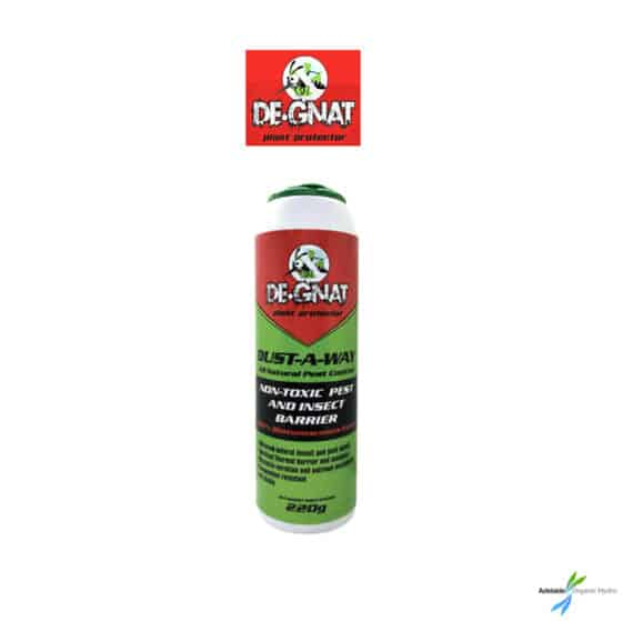 De-Gnat Dust-A-Way 220g Broad mites - Two spotted mites - Russet mites - Cyclamen mites - Whiteflies - Aphids - Thrips - Gnats - Leafminer Hydroponics