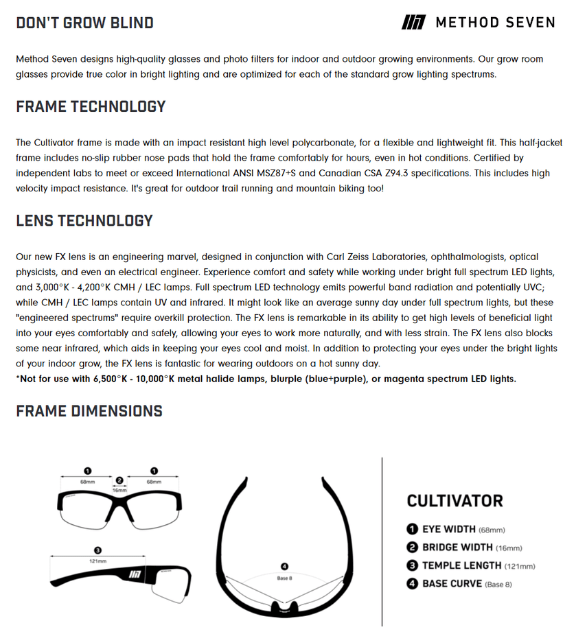 Method Seven Cultivator Glasses for Growing Cannabis Description